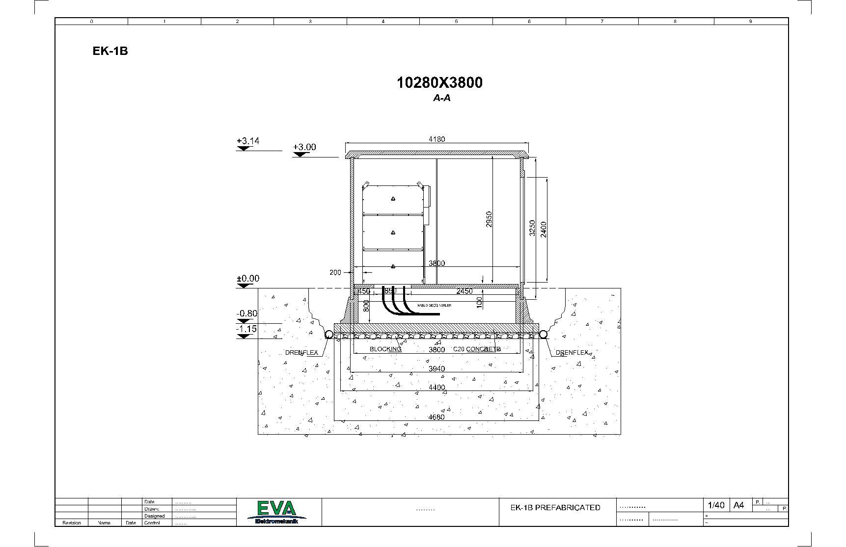 محطة توزيع مسبقة الصنع (3140) (3800) (10280) مم ملحق1 – ب